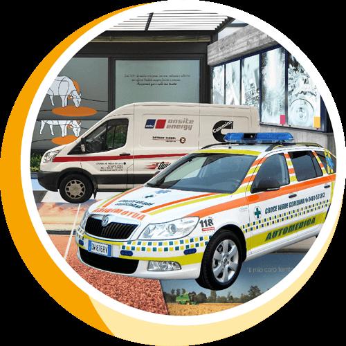 Decorazione di vetrate, automezzi aziendali e veicoli speciali